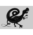 tyrannosaur silhouette isolated on white black vector image