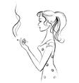 girl smokes vector image