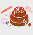 isometric people decorate a birthday cake vector image