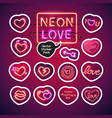 neon valentines day sticker pack vector image