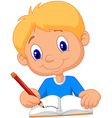 Happy boy writing in a book vector image