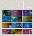 2014 Card Calendar vector image vector image