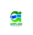 a letter icon for airplane extreme sports vector image vector image