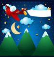 airplane and banner over the mountain by night vector image