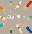 algorithm problem solving flow chart hands working vector image