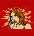 angry woman talking on the phone emotions vector image vector image
