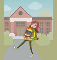 back to school school girl with pile books vector image vector image
