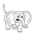 Black and white of a funny cartoon elephant