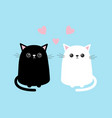 black white cute cat sitting kitten set pink vector image vector image