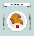 Breakfast flat top view set icons silhouette vector image vector image