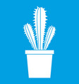 cactus in flower pot icon white vector image