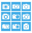 camera icon set on blue background in flat style vector image vector image