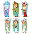 cartoon persian and jinn with lamp character set vector image