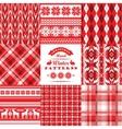 Christmas and New Year SetPlaid and ornamental vector image vector image