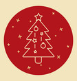 christmas tree icon in thin line style vector image vector image