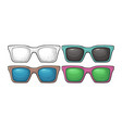 collection of different color of retro sunglasses vector image