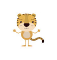 colorful caricature of cute tiger happiness vector image vector image
