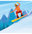 Descent from the mountain on a snowboard vector image vector image