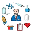 Different sciences and research icons vector image vector image