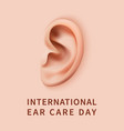 ear care day concept background realistic style vector image