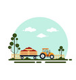 flat red tractor with a cart tomato the vector image vector image