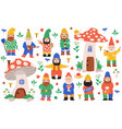 garden dwarf characters gnome decorations vector image