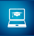 graduation cap and laptop icon online learning vector image vector image