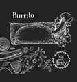 hand drawn burrito banner fast food on chalk vector image