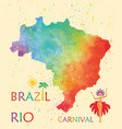 hand drawn watercolor texture map of brazil vector image vector image