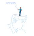 human open head businessman holding selfie stick vector image