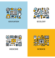 icons set of education ecology medicine science vector image vector image