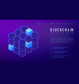 isometric blockchain proof of work landing page vector image vector image