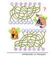 learn french logic puzzle game with cute animals vector image