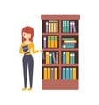 Library Or Bookstore With Young Woman Choosing A vector image vector image