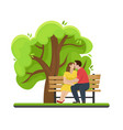 loving couple kissing on a wooden bench vector image vector image