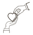 male and female hands giving heart love symbol vector image