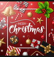 merry christmas with red background vector image vector image