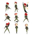 military man in various actions set soldier vector image vector image