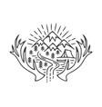 mountains camping grunge logo vector image