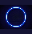 neon glowing circle blue frame for banner on dark vector image