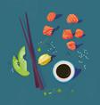 poke bowl ingredients healthy vector image