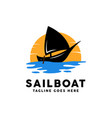 sailboat with sunset logo design inspiration vector image