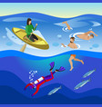 sea outdoor activities composition vector image vector image