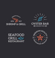 set of retro vintage fish and seafood shrimp vector image vector image