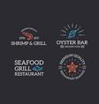 set retro vintage fish and seafood shrimp vector image vector image