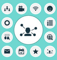 social icons set with network event wi-fi and vector image vector image