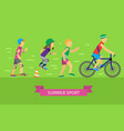 summer sport concept in flat design vector image vector image