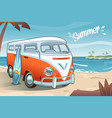 summer van on the beach vector image vector image