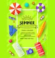 summer vecetion time brochure cards set vector image vector image