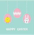three painting egg shell happy easter text vector image vector image